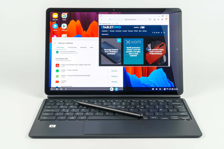 Samsung Galaxy Tab S7+ touchpad, klawiatura i piórko, DeX