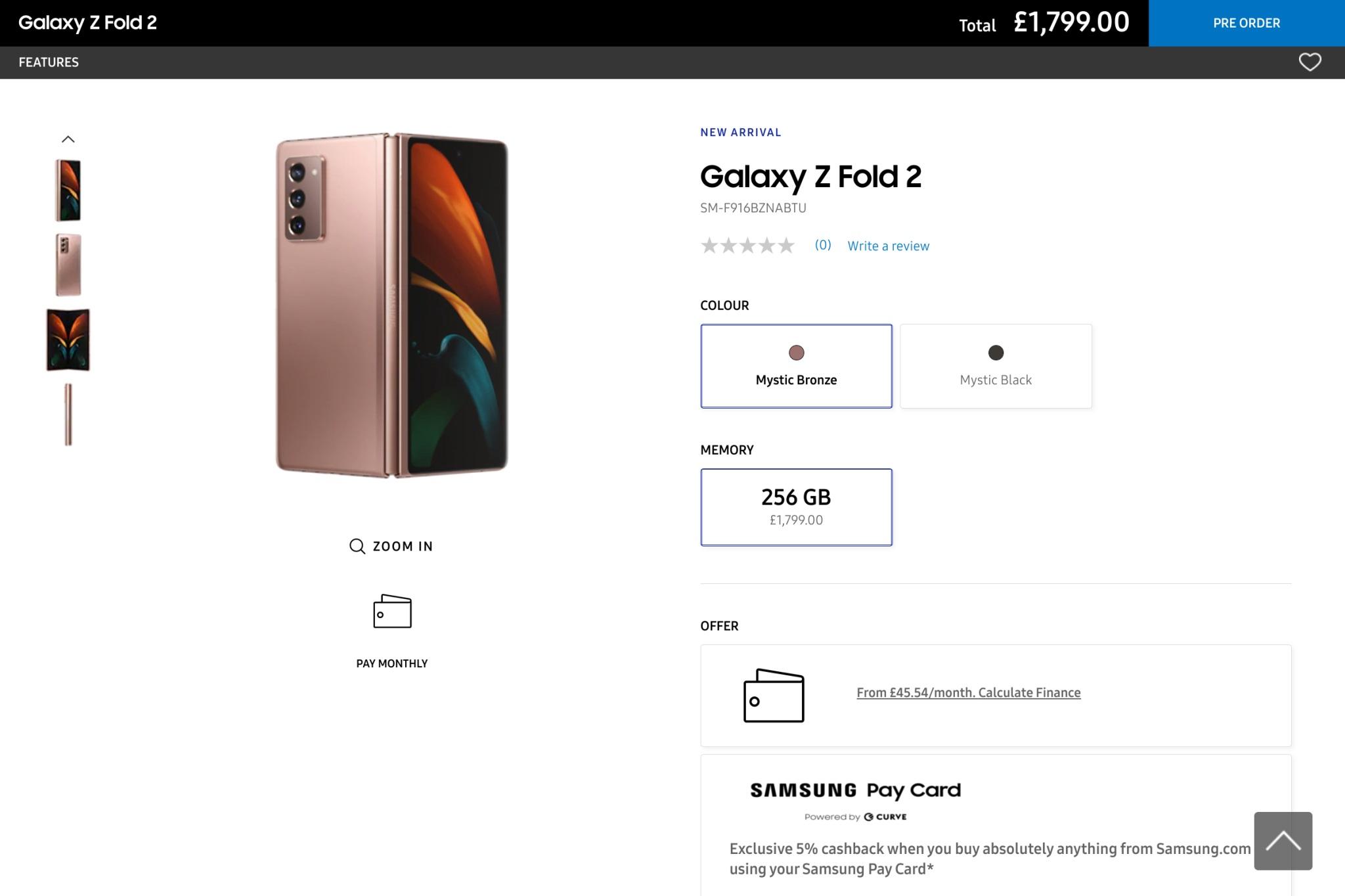 Samsung Galaxy Z Fold 2 5G cena price UK
