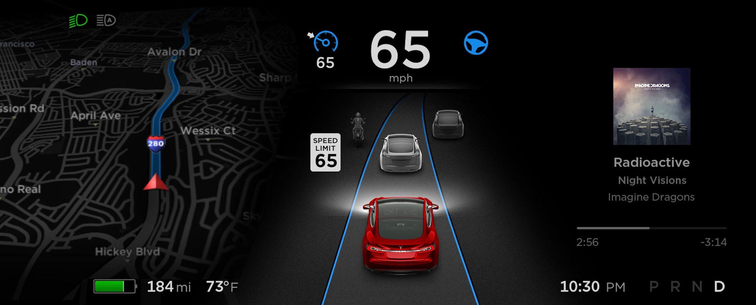 Tesla – ograniczenie prędkości.