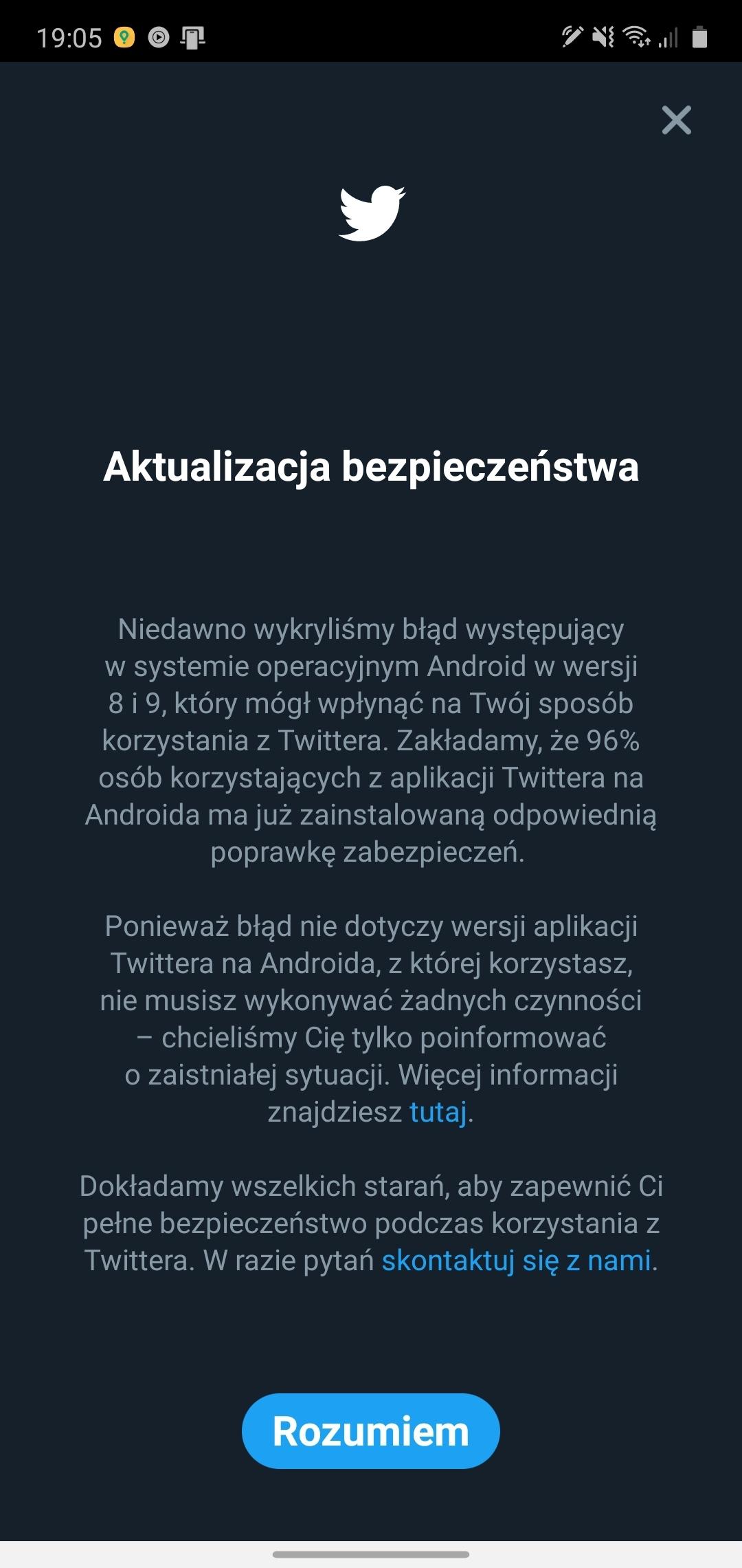 Twitter aktualizacja bezpieczeństwa informacja