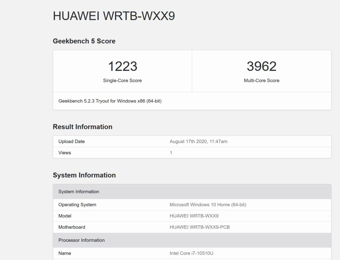 Matebook 13 GeekBench