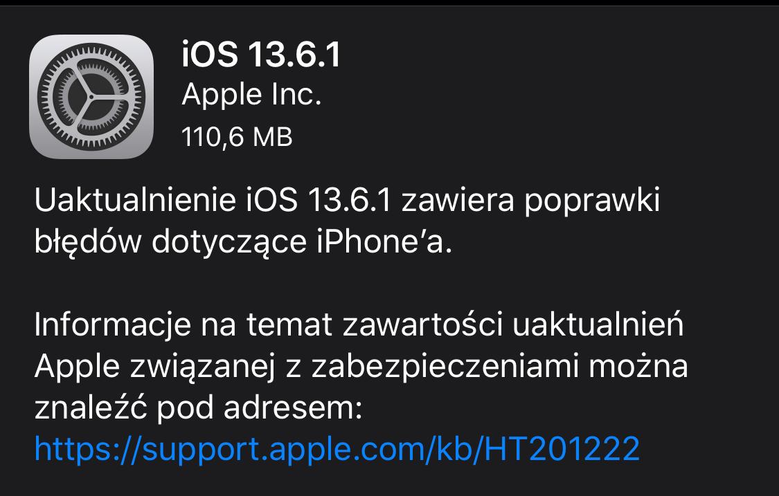 iOS 13.6.1 – aktualizacja