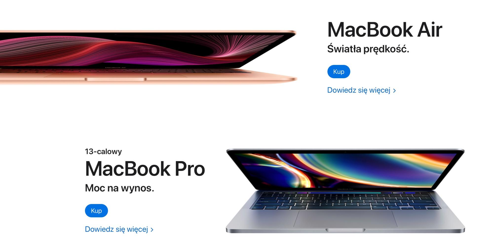 MacBook Air i Pro.
