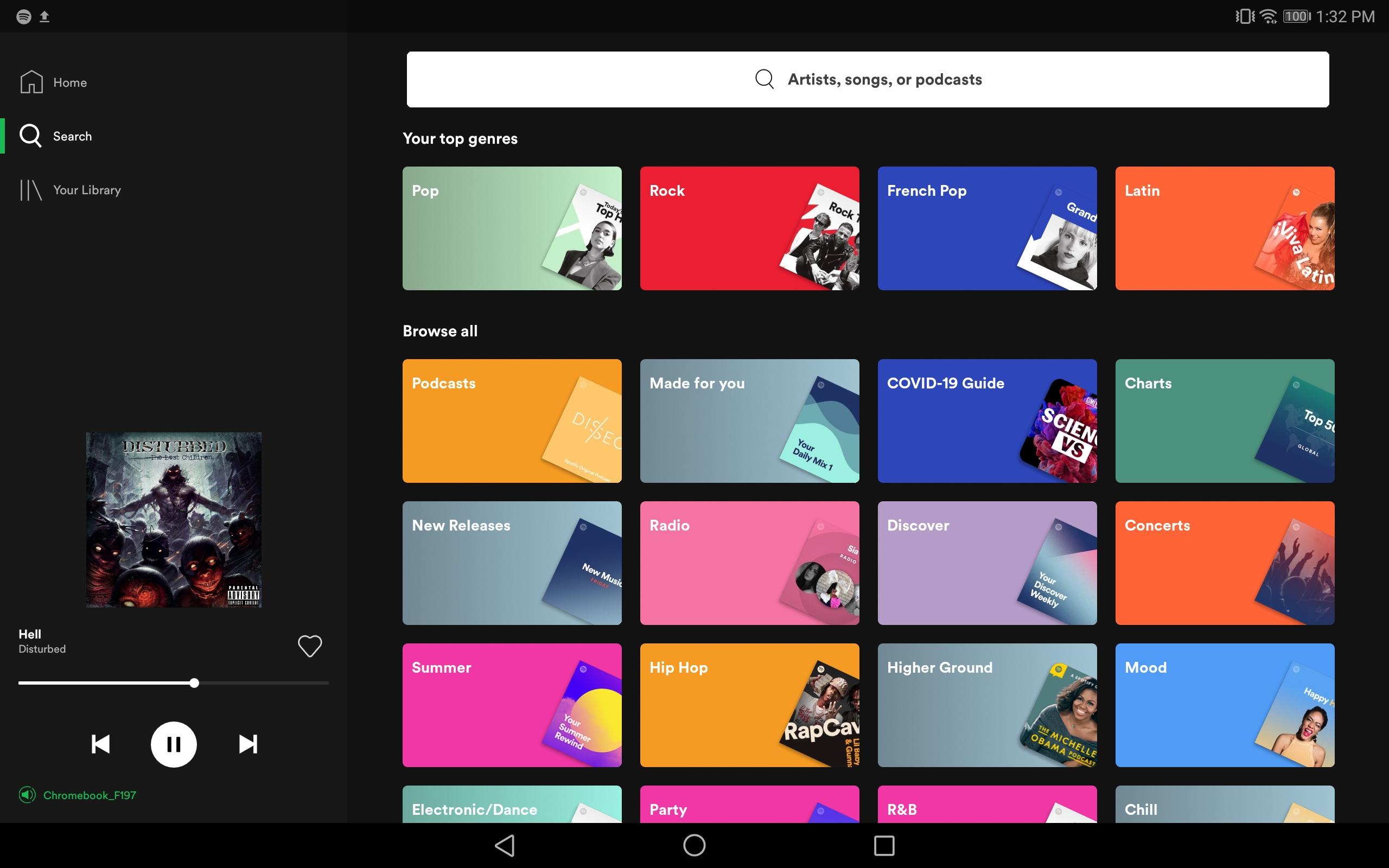 Spotify na tablecie z Androidem.