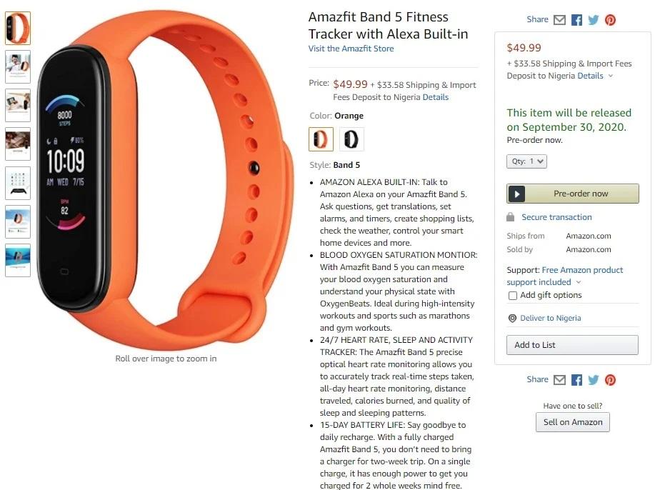 Amazfit Band 5 w sklepie Amazon