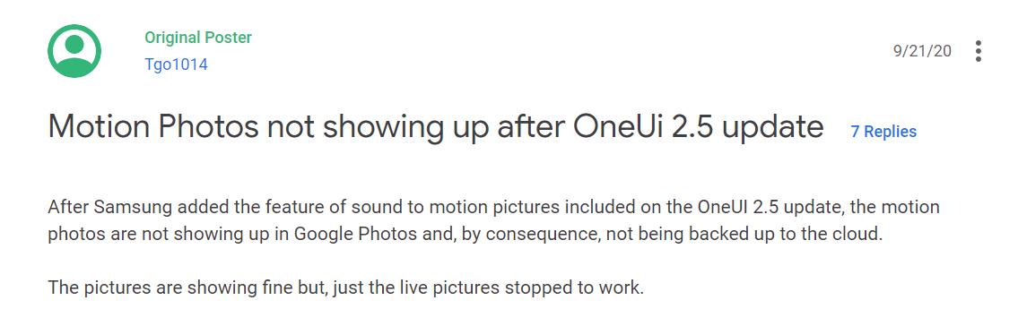 Zdjęcia Google - Jeden z użytkowników zgłaszających błąd na forum Google