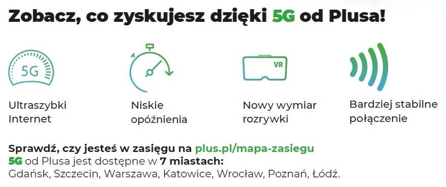 Plus 5G zasięg