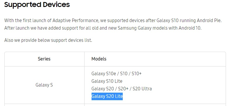 Samsung Galaxy S20 Lite
