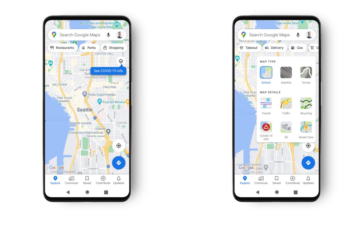 Mapy Google - warstwa COVID
