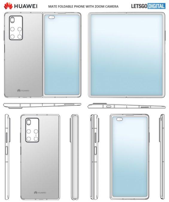 Patent przedstawiający Huawei Mate X2