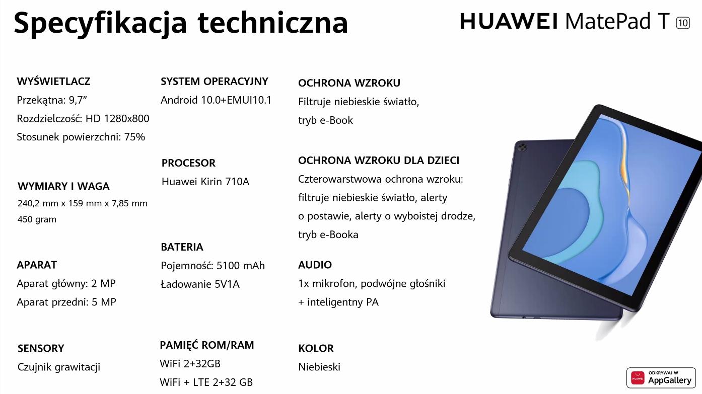Huawei MatePad T10 - specyfikacja