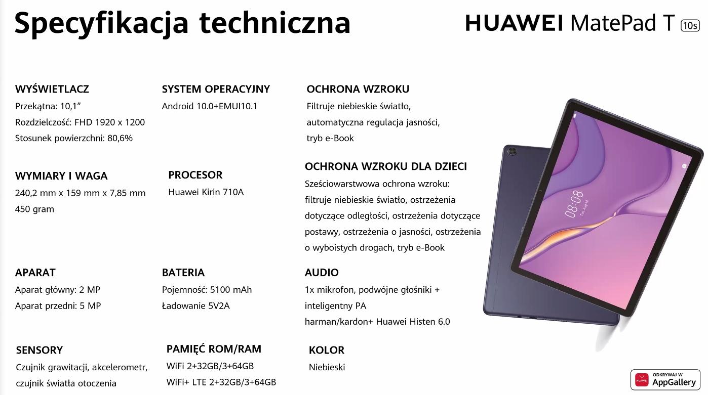 Huawei MatePad T10S - specyfikacja