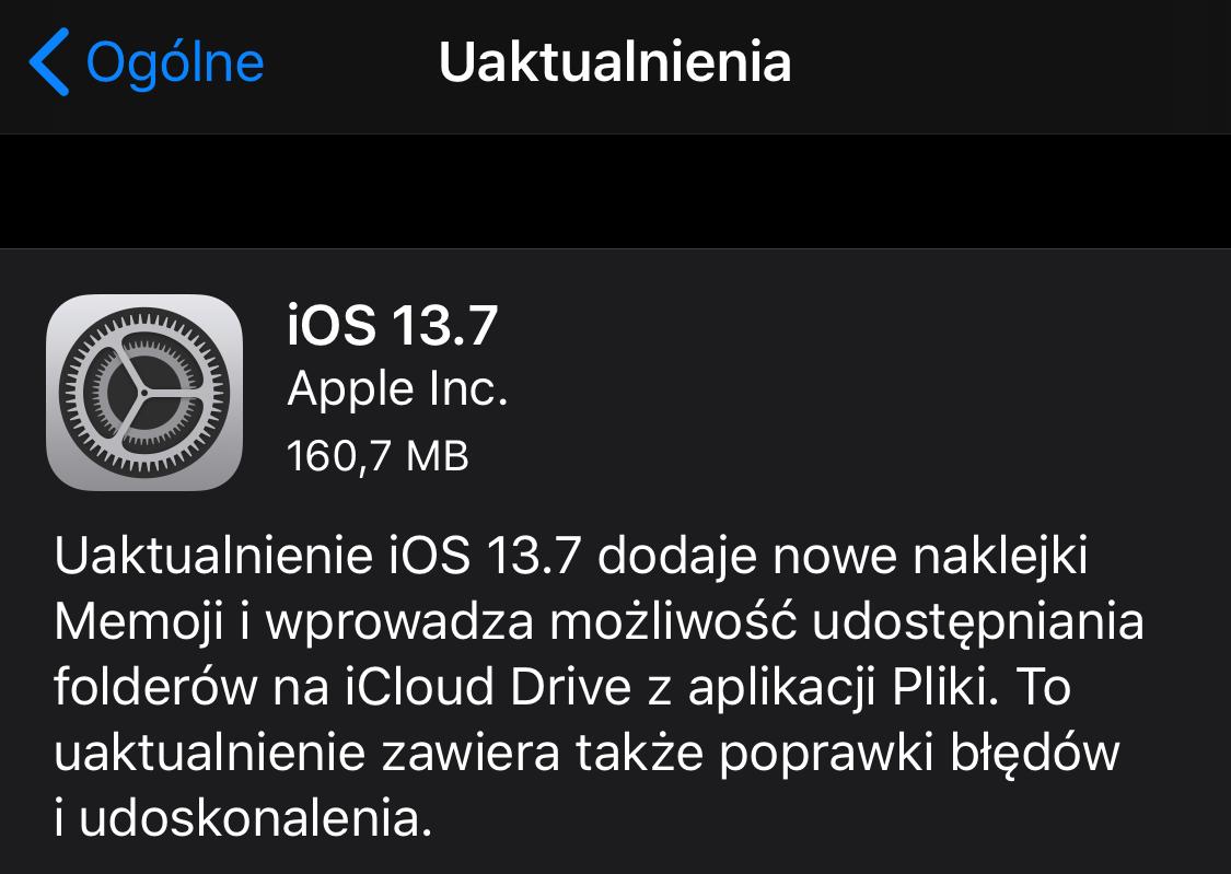 iOS 13.7 – aktualizacja.