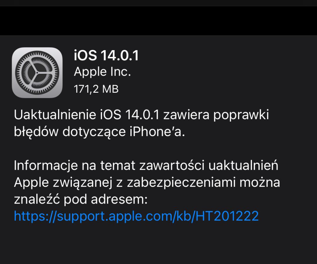 iOS 14.0.1 do pobrania.
