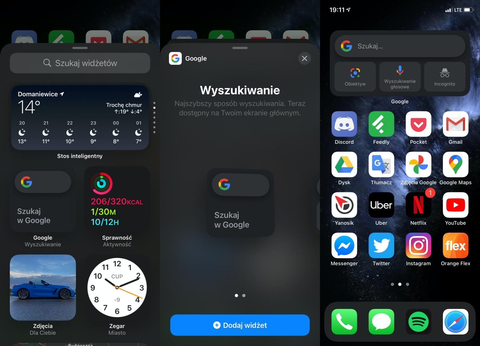 iOS 14 z widżetem Google.