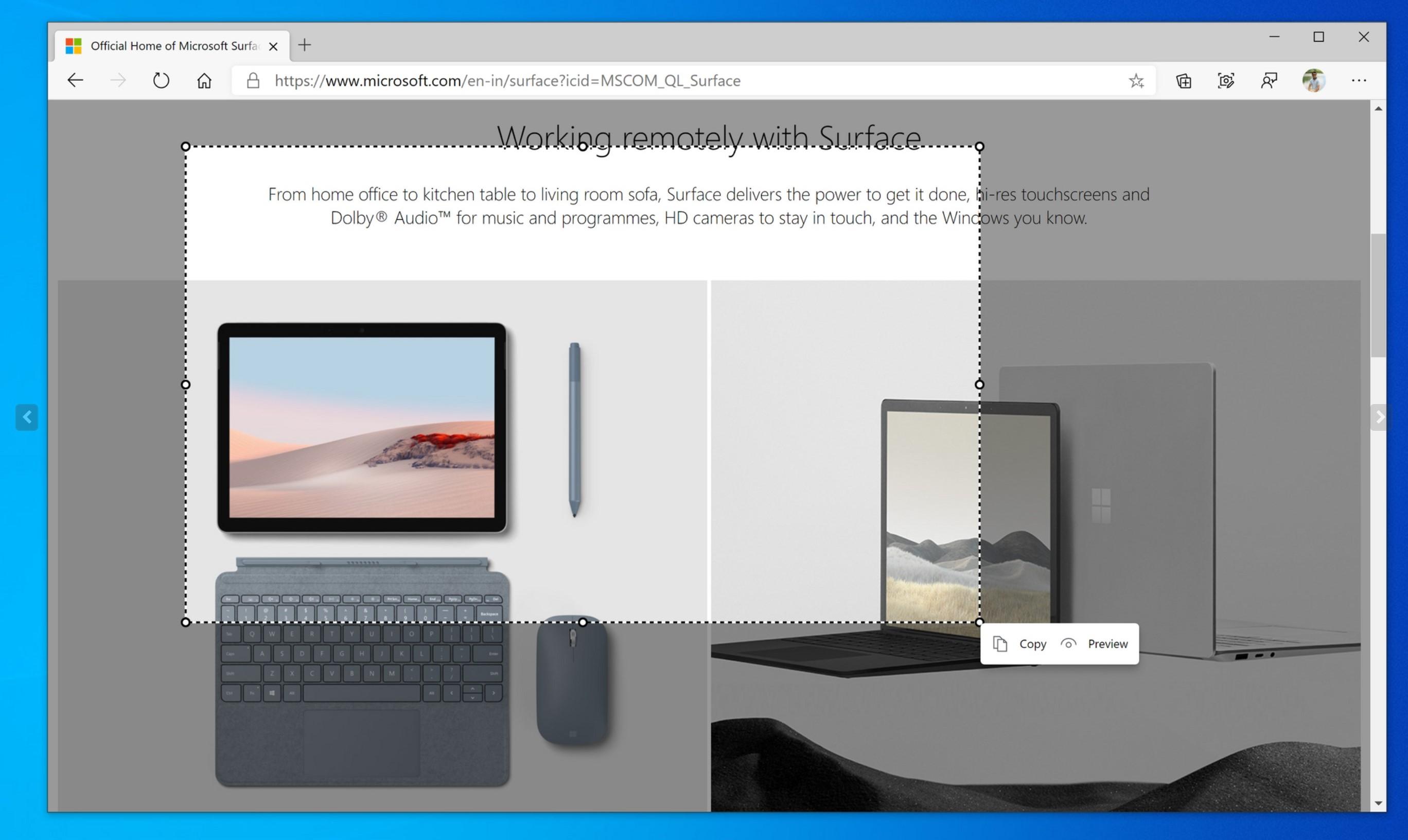Microsoft Edge zyska wbudowane narzędzie do przechwytywania zawartości ekranu 18 Microsoft Edge