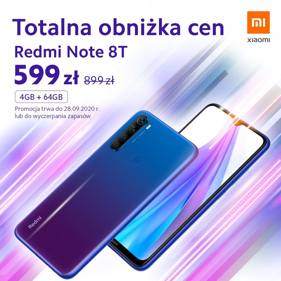 promocja Xiaomi Redmi Note 8T 4 GB/64 GB za 599 złotych