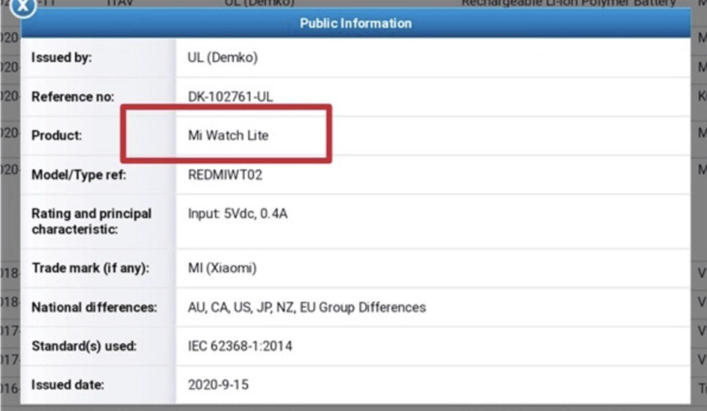 Redmi Mi Watch Lite - certyfikacja
