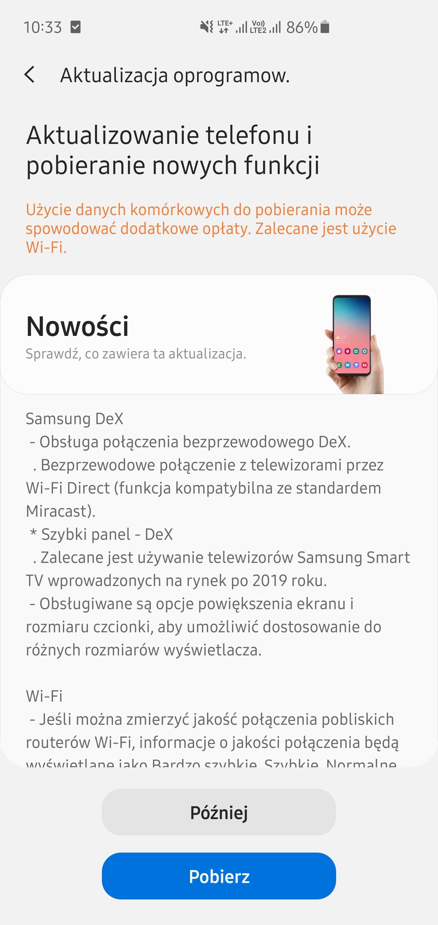 Aktualizacja do One UI 2.5 na Galaxy S10+ - jest bezprzewodowy DeX