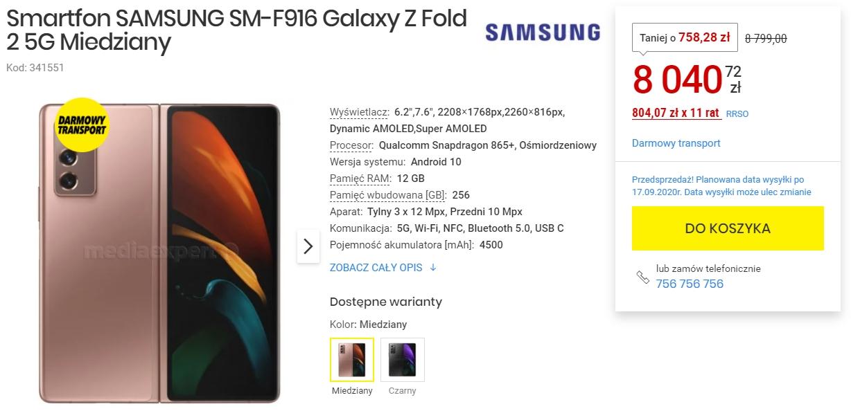 Samsung Galaxy Z Fold 2 w świetnej promocji w Media Expert