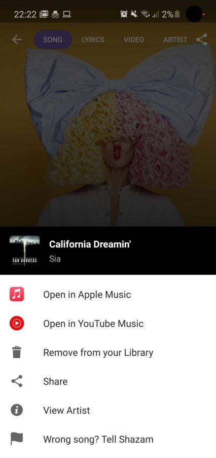 Shazam z YouTube Music