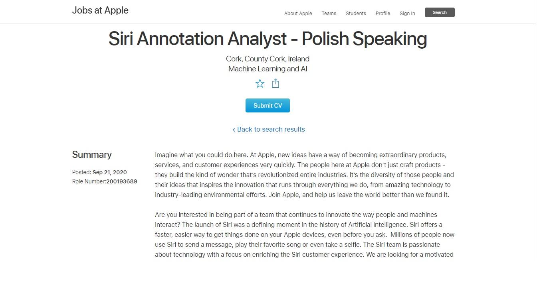 Oferta pracy na stanowisku analityka ds. adnotacji i notatek przy Siri w Apple