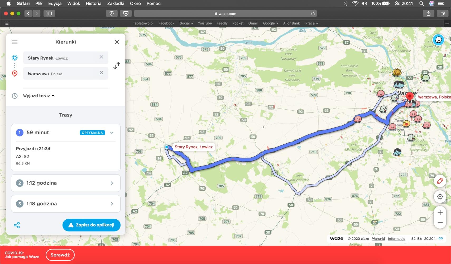 Waze – planowanie trasy