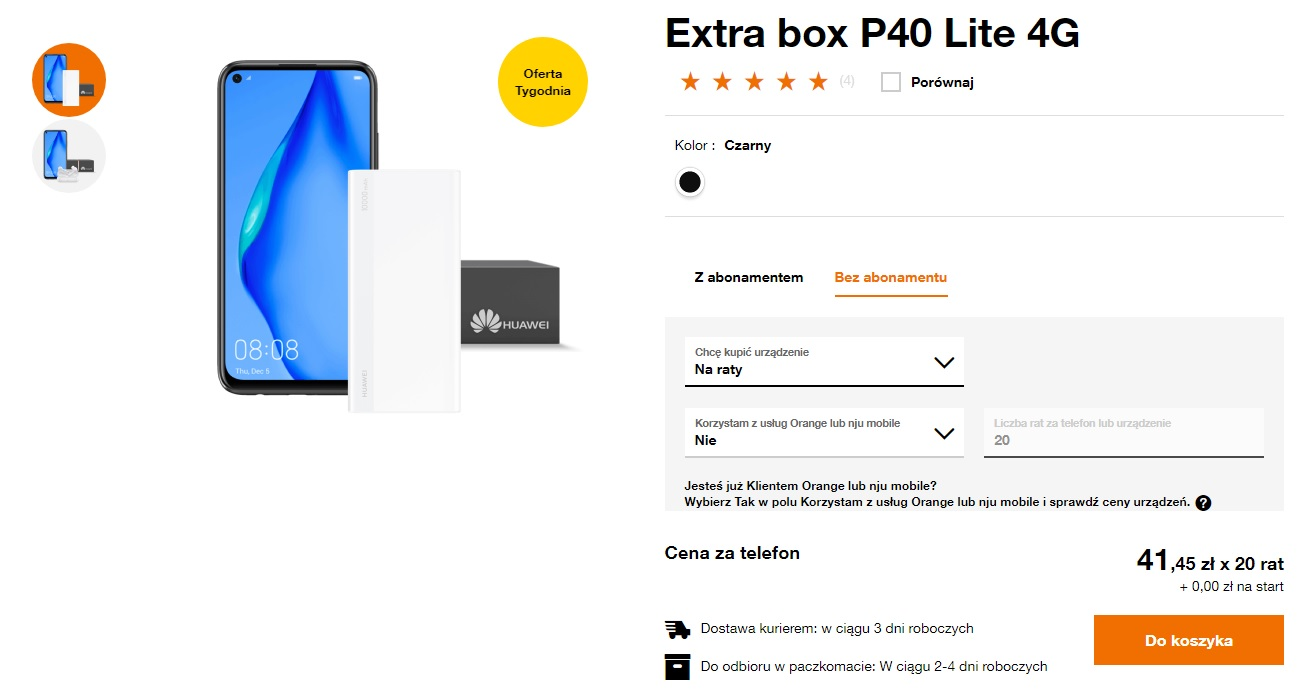 Oferta Tygodnia Huawei P40 Lite Orange