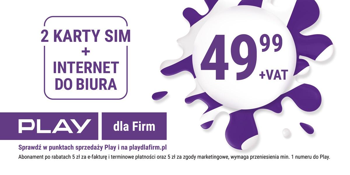 Play biznes promocja dwie karty SIM internet