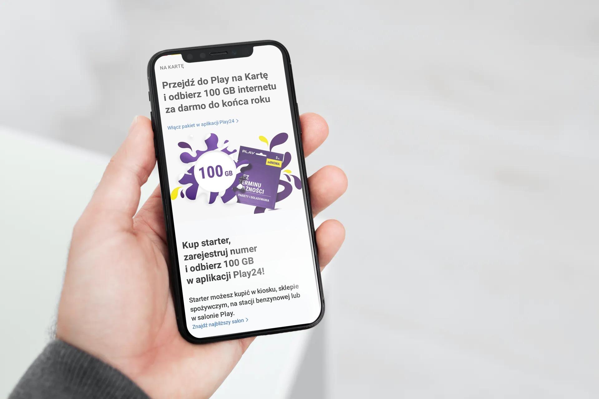 Play na kartę 100 GB internetu za darmo