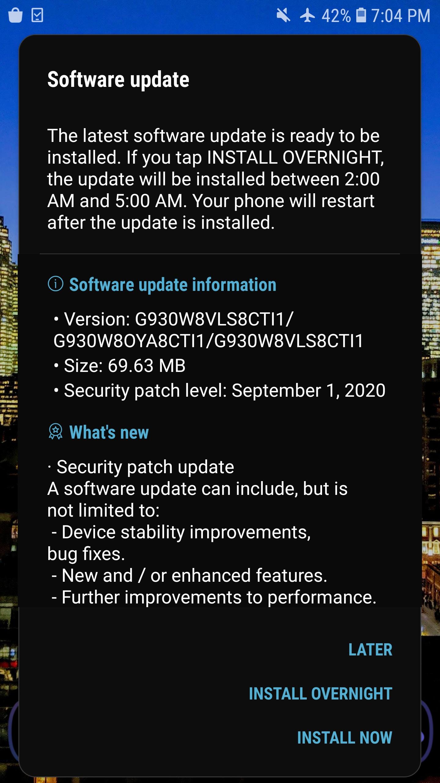 Samsung Galaxy S7 aktualizacja zabezpieczeń update