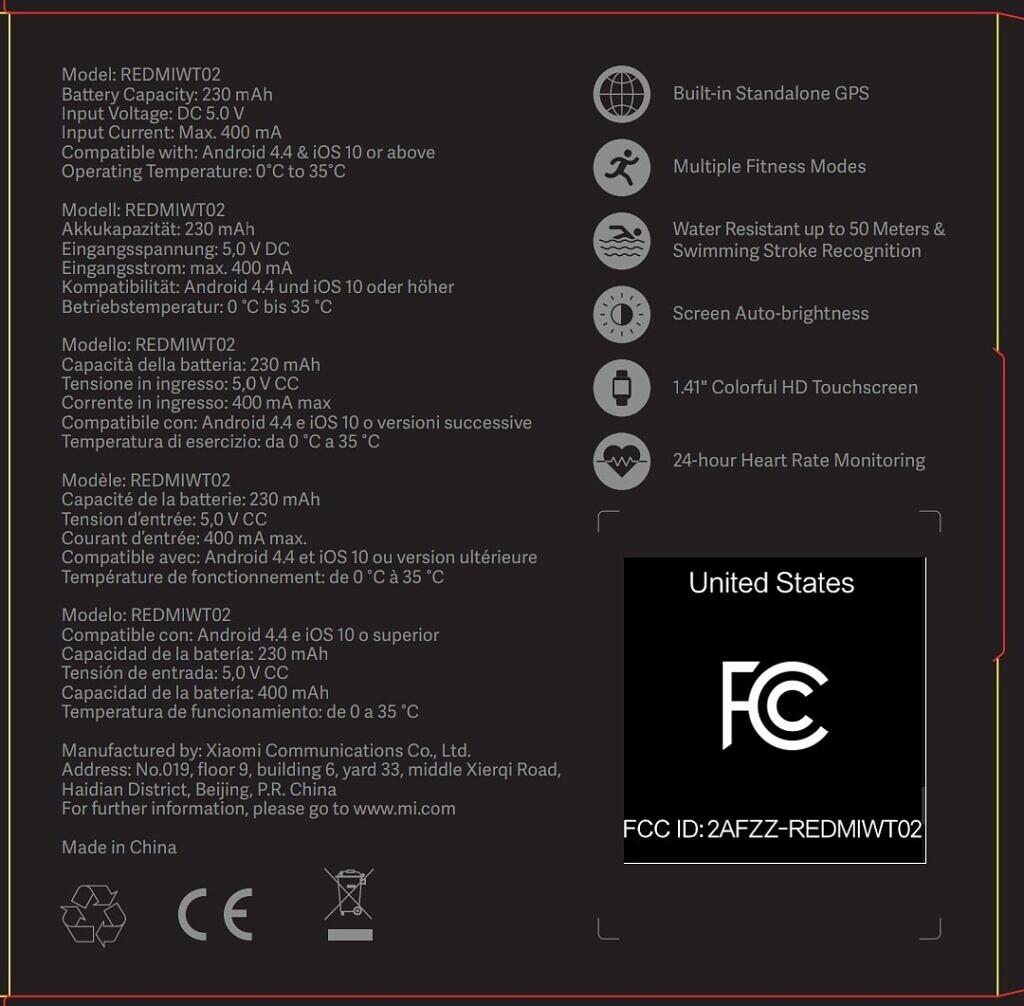 smartwatch Xiaomi Mi Watch Lite specyfikacja