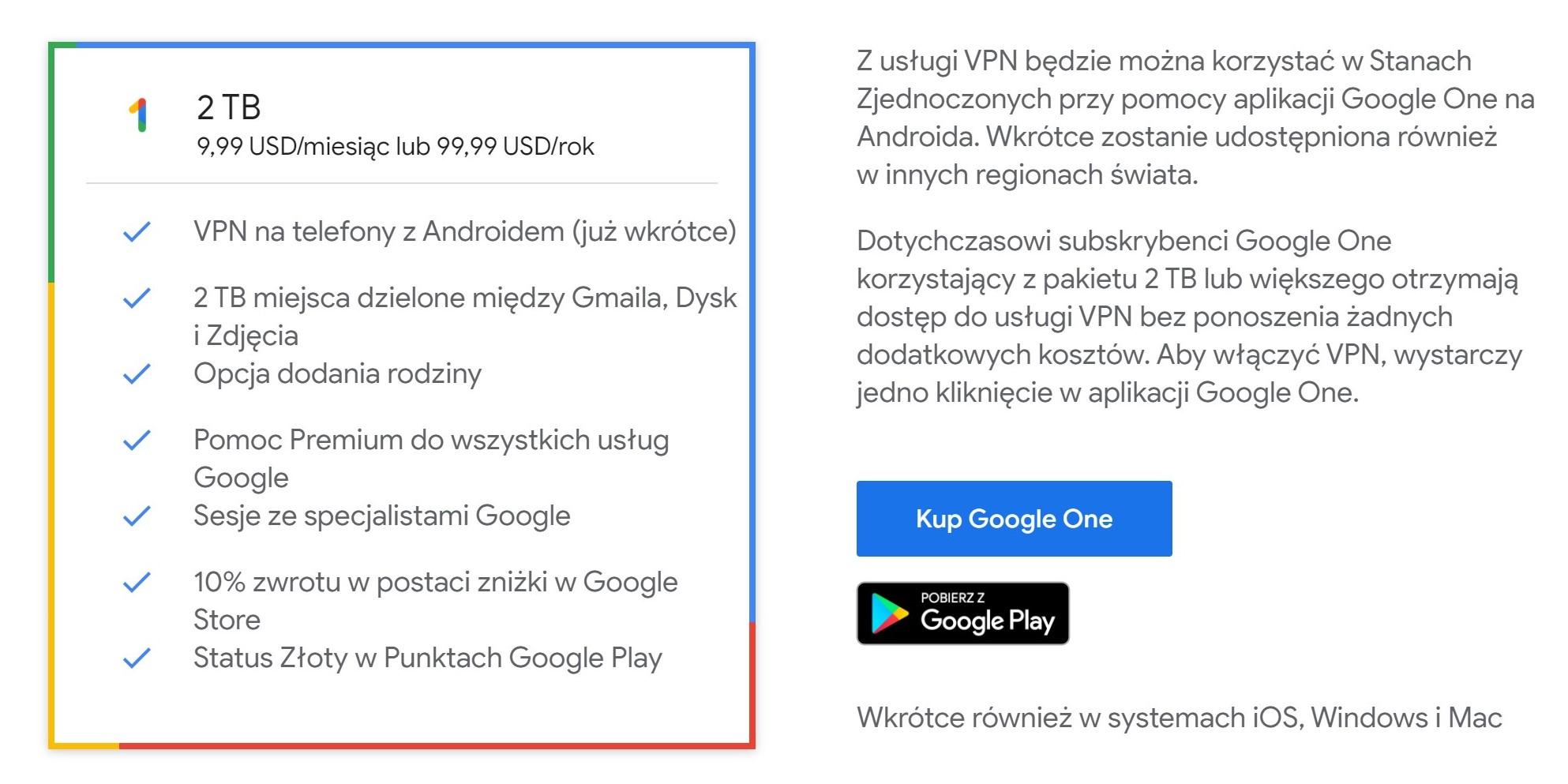 Google One  w najwyższym pakiecie zaoferuje obsługę VPN na Androida