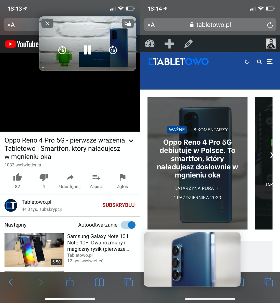 iOS 14 – Picture in Picture na YouTube.