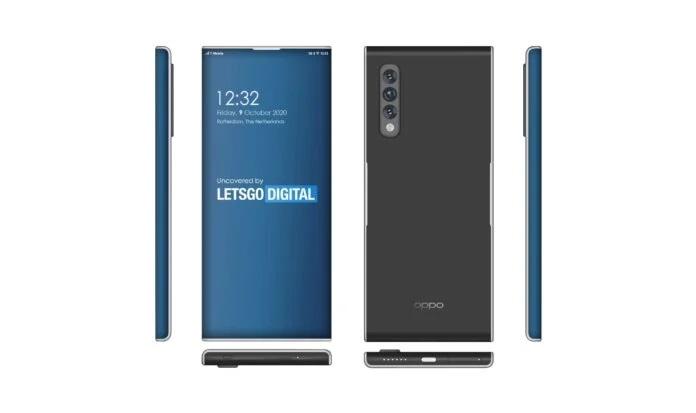Patent, przedstawiający smartfon z wyświetlaczem bez jakichkolwiek ramek i aparatem pod ekranem