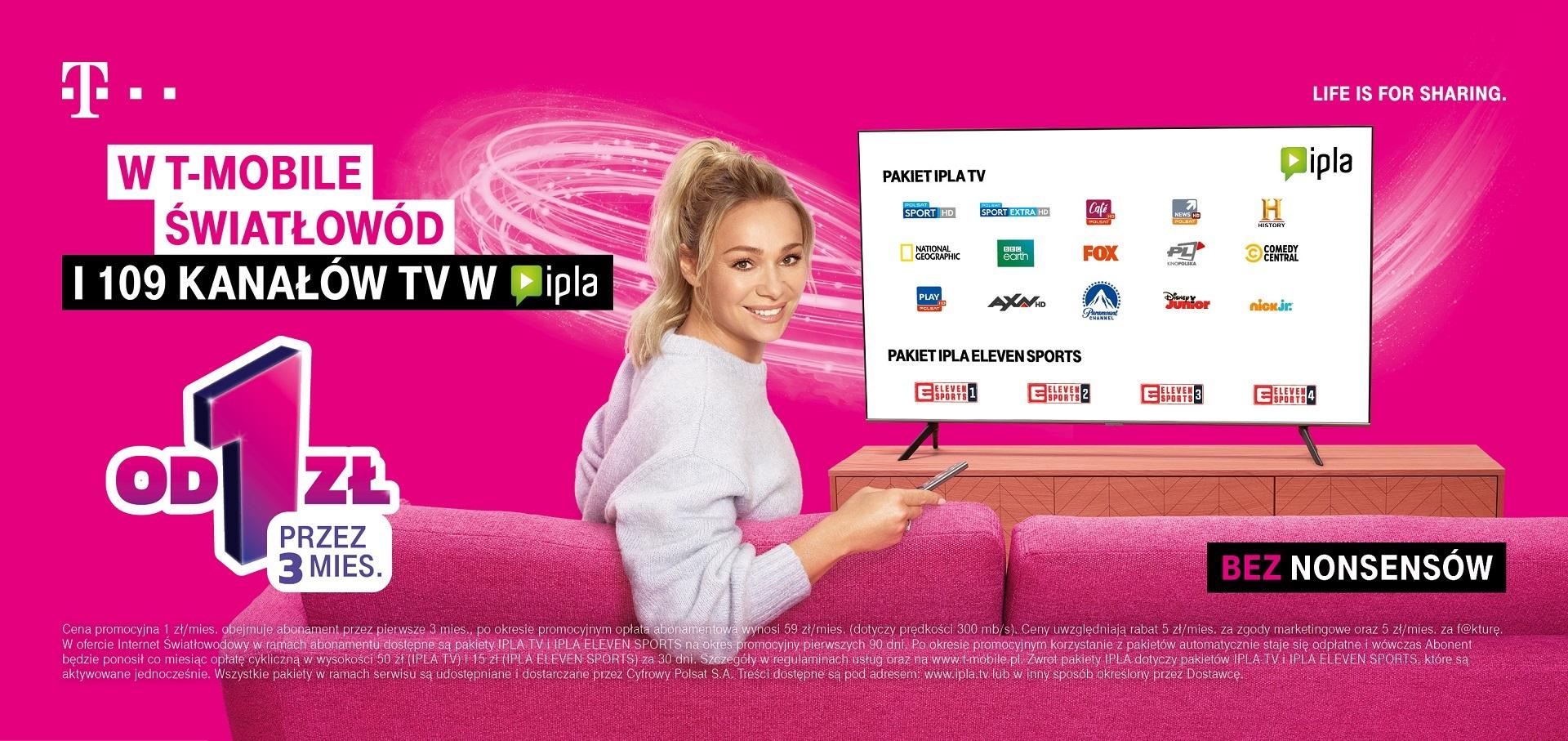 promocja T-Mobile internet światłowodowy IPLA TV ELEVEN SPORTS