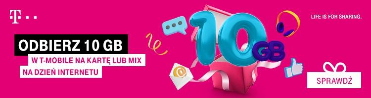 Nie zapomnijcie odebrać darmowego pakietu 10 GB internetu od T-Mobile!