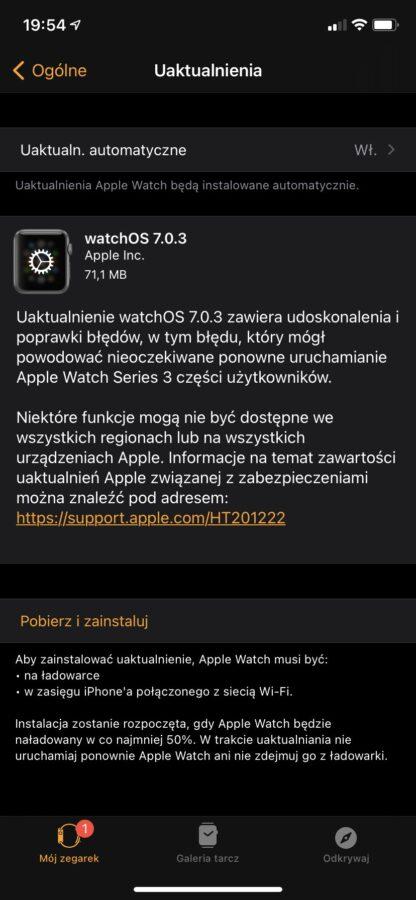watchOS 7.0.3 – lista zmian.