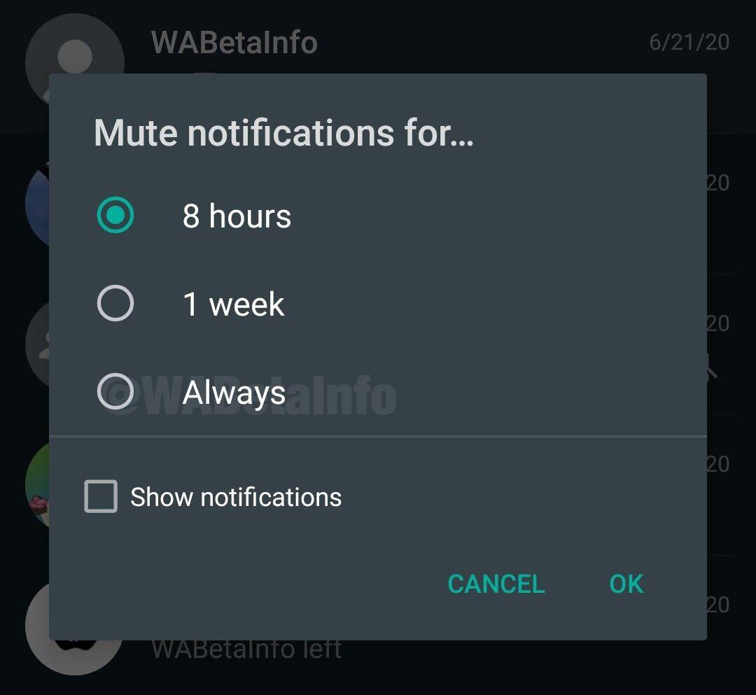 Zmianie uległ czas wyciszenia konwersacji w WhatsApp. Od teraz możemy ją wyciszyć na stałe (fot. WABetaInfo)