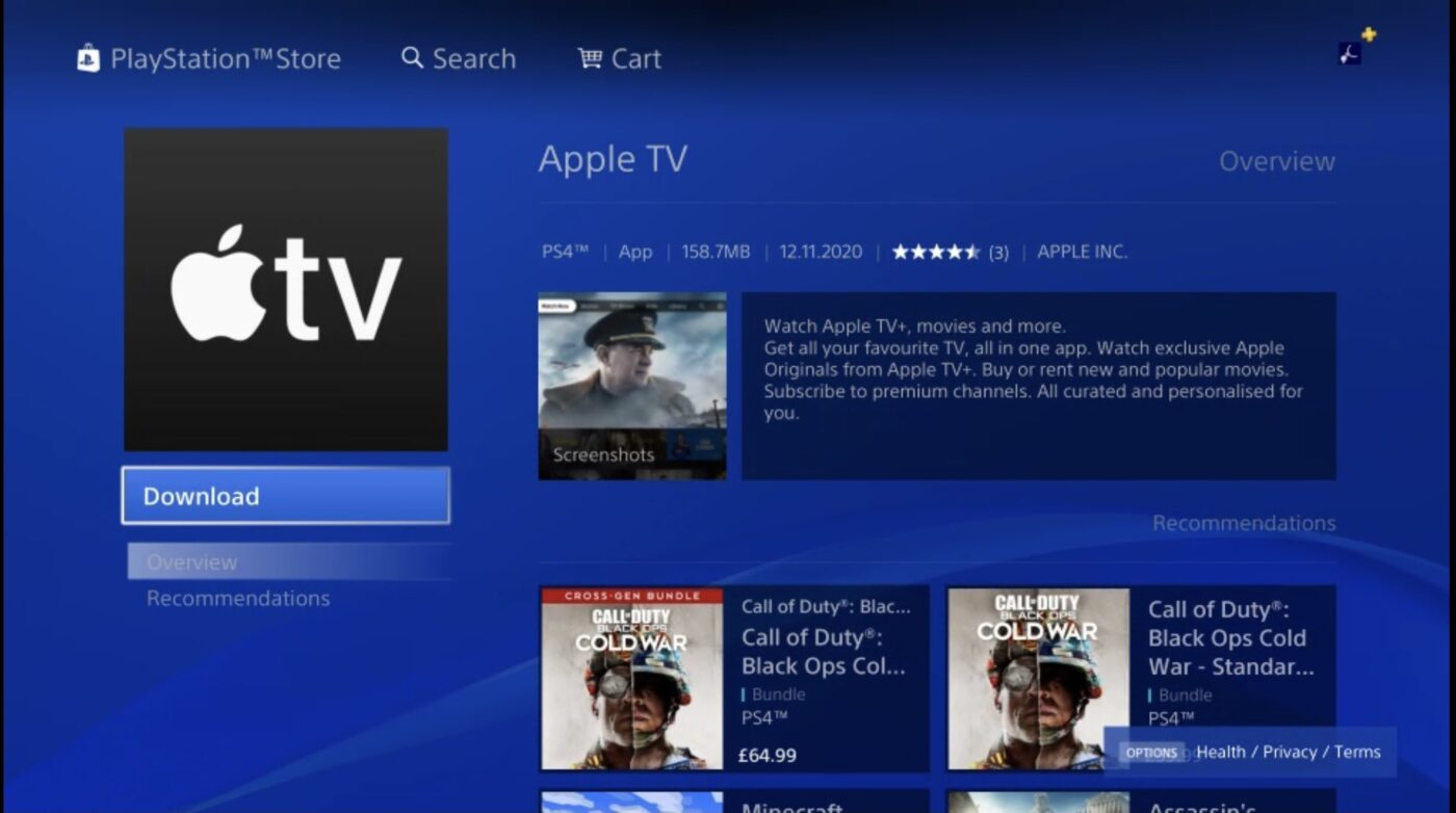 Apple TV na PlayStation.