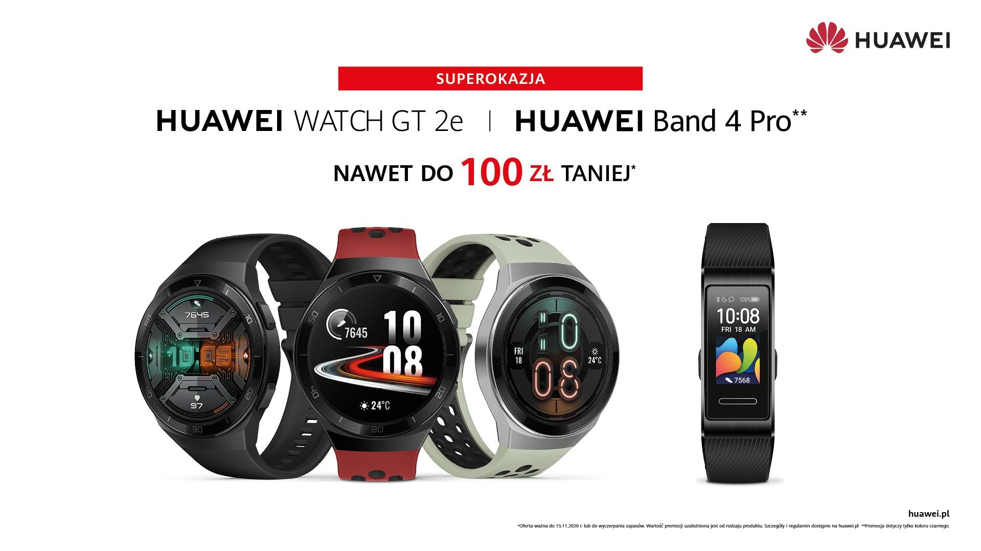 promocja Huawei Watch GT 2e Huawei Band 4 Pro