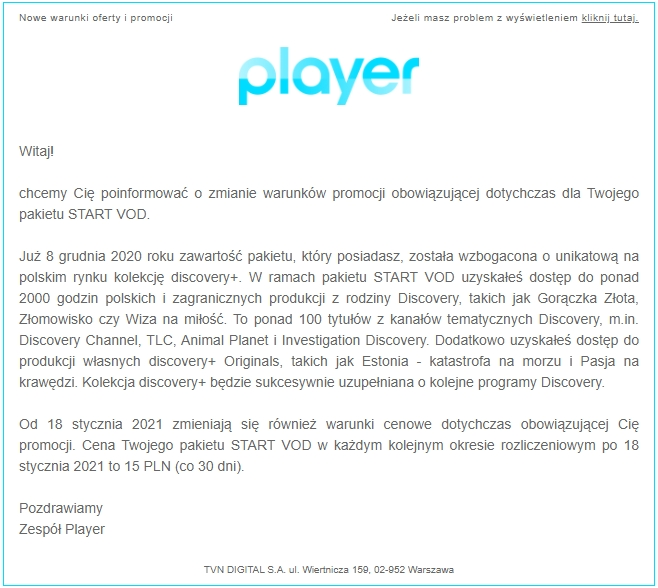 Player+ START VOD nowa cena grudzień 2020
