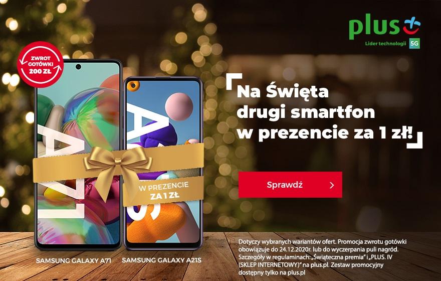 Plus promocja drugi smartfon za 1 zł Boże Narodzenie 2020