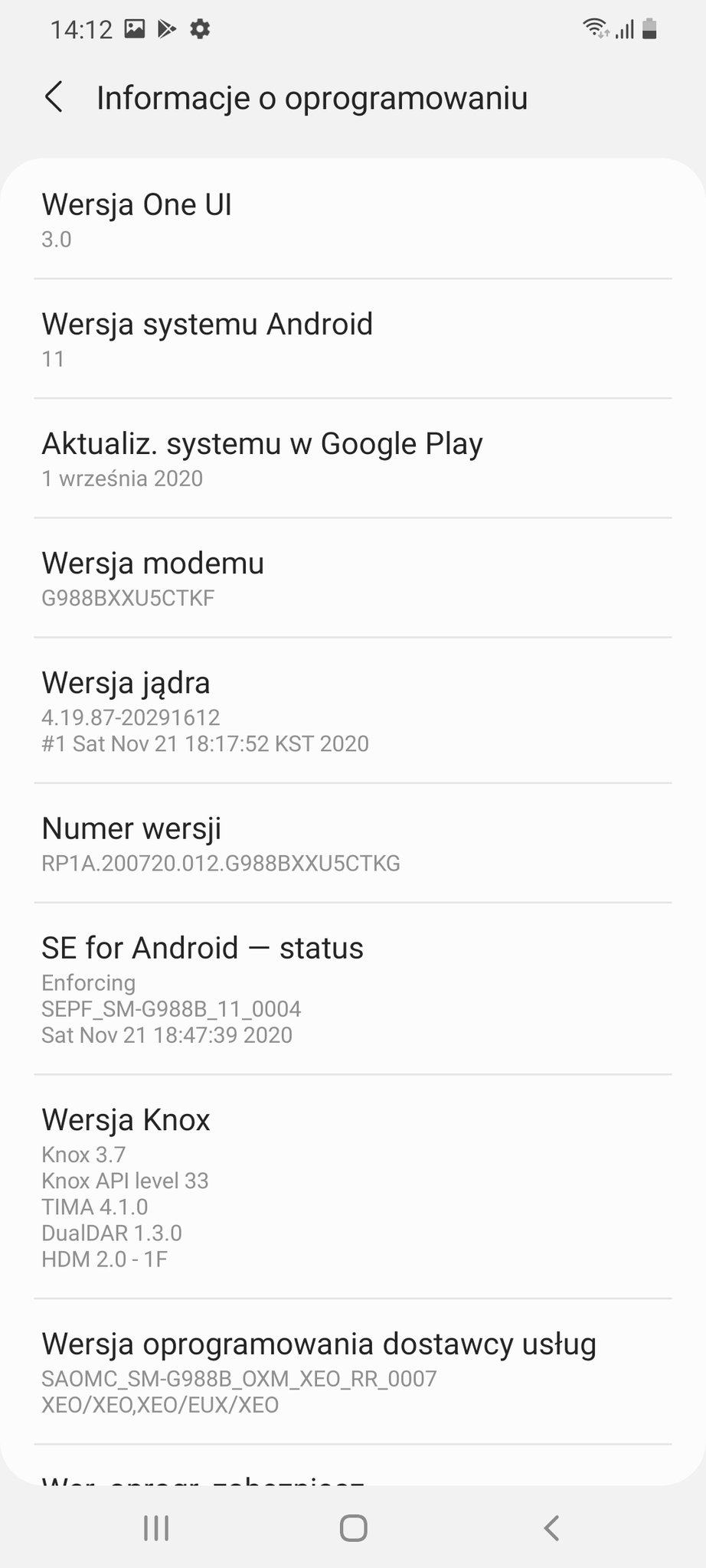 Samsung Galaxy S20 Android 11 One UI 3 aktualizacja update