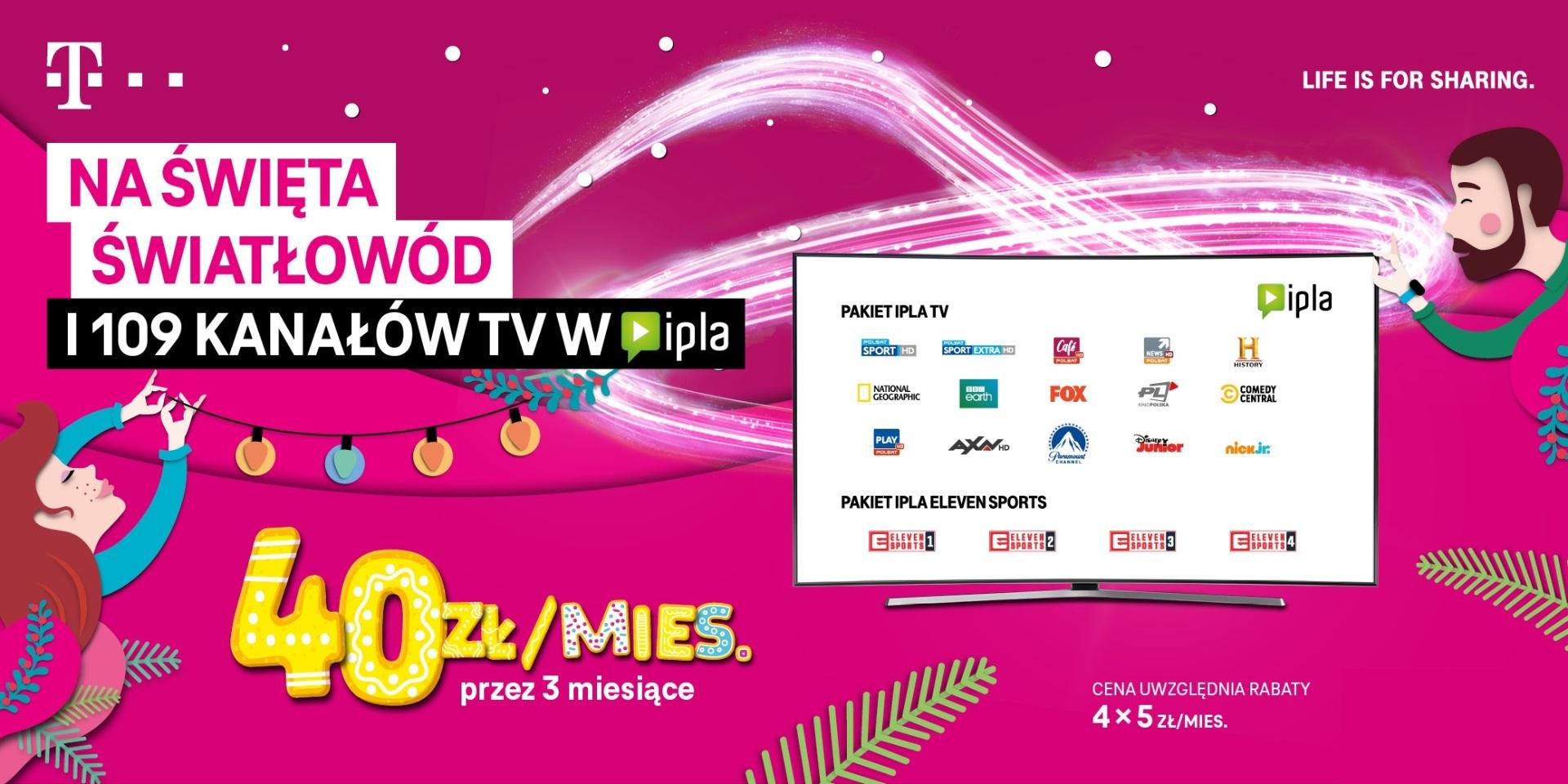 T-Mobile promocja IPLA TV światłowód Boże Narodzenie 2020