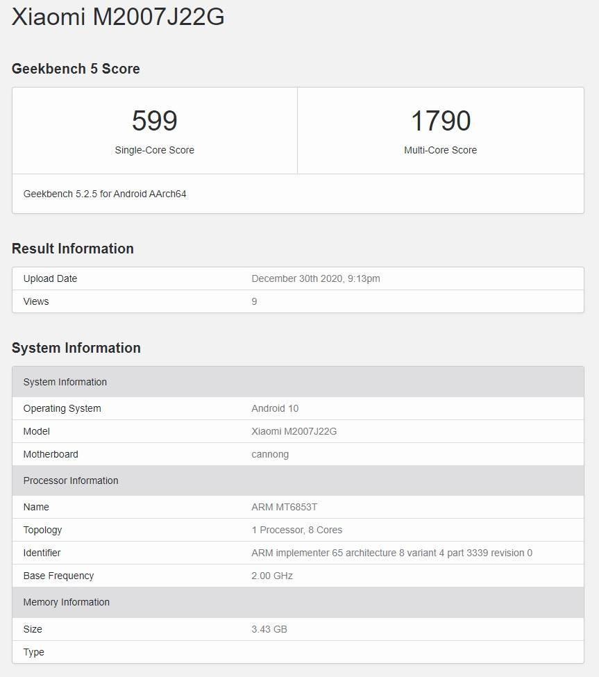 Xiaomi Redmi Note 9T 5G Geekbench