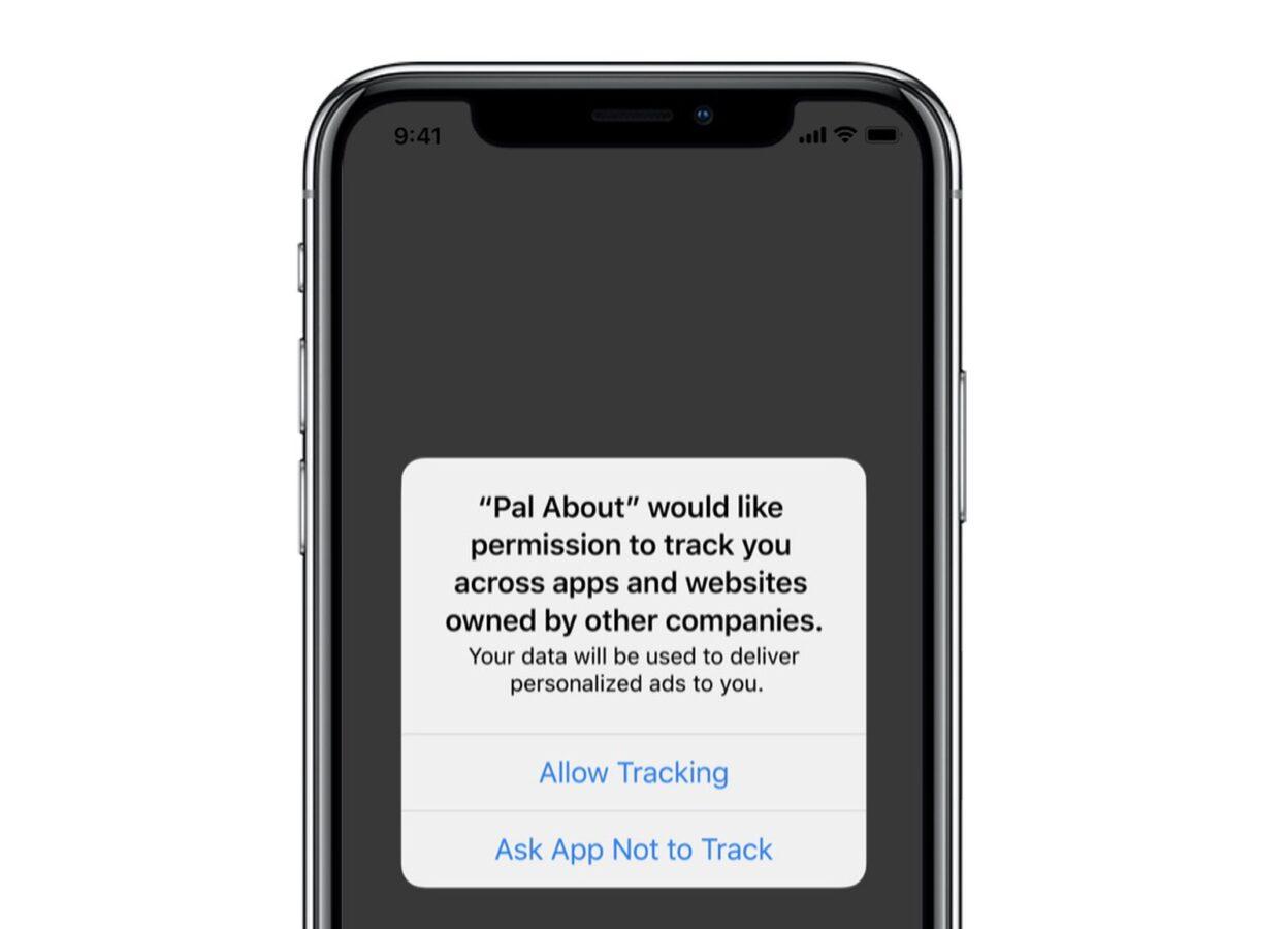 iOS 14 z funkcją pozwalającą zablokować śledzenie reklam.
