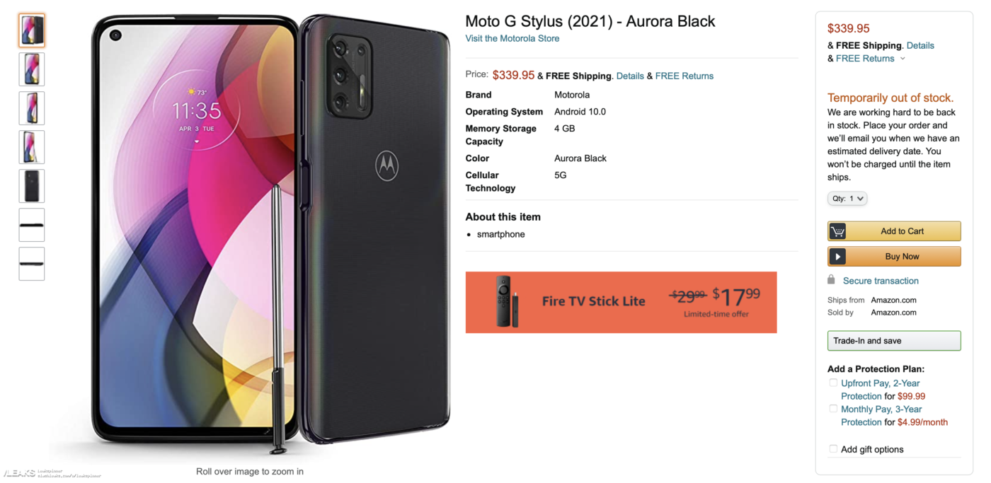 Oferta Amazonu przedstawiająca Moto G Stylus 2021 (źródło: slashleaks)