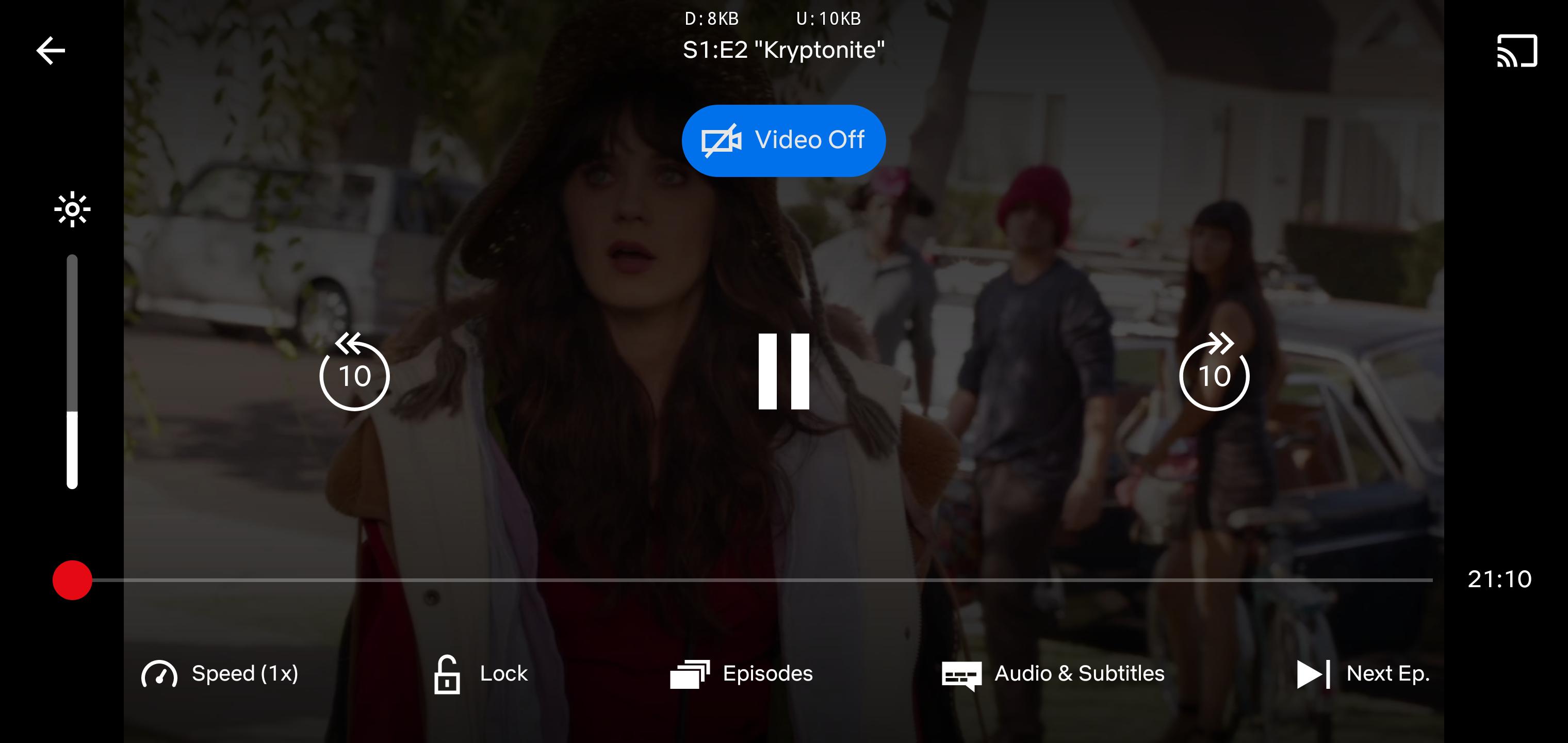 Przycisk wyłączający wideo w aplikacji Netflix (źródło: Android Police)
