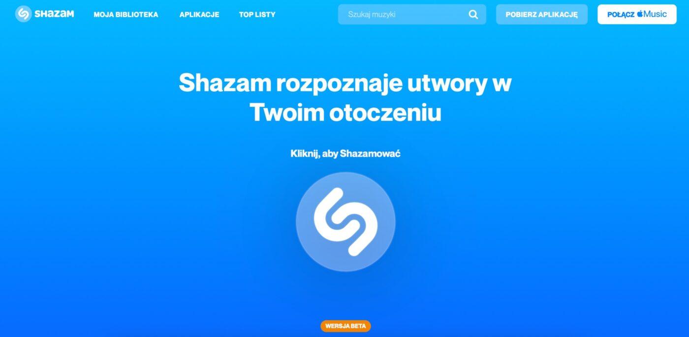 Shazam w przeglądarce internetowej